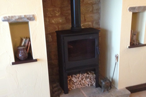 Broseley Desire with log store wood burning Stove install