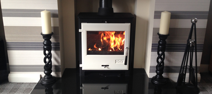 OER 7kw white door wood burning stove